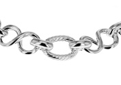 Tuscany Silver Sterling Silver Textured Oval Link and Figure 8 Link Bracelet of 20cm/8""