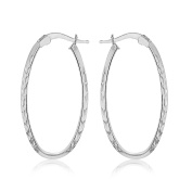 Tuscany Silver Sterling Silver Patterned Oval Hoop Earrings
