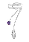 Tuscany Silver Sterling Silver Wire Leaf and Purple Cubic Zirconia Ear Cuff