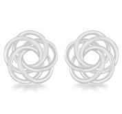 Tuscany Silver Sterling Silver Flat Swirl Knot Stud Earrings