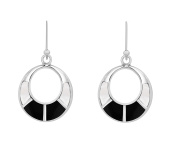 Tuscany Silver Sterling Silver Round Cut Out White Mother of Pearl and Black Onyx Drop Earrings