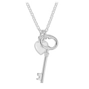 Tuscany Silver Key and Heart Necklace of 43.18cm