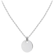 Tuscany Silver Sterling Silver Plain Disc Pendant on Chain Necklace of 46cm/18""