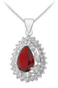 Tuscany Silver Sterling Silver Red and White Cubic Zirconia Cluster Teardrop Pendant on Chain Necklace of 46cm/18""