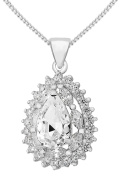 Tuscany Silver Sterling Silver White Cubic Zirconia Cluster Teardrop Pendant on Chain Necklace of 46cm/18""
