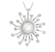 Tuscany Silver Sterling Silver Women's Mother of Pearl Sun Pendant on Curb Chain Necklace of 46cm/18""