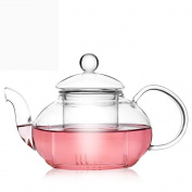 Tamume 600ml Classic Style Glass Teapot With Infuser Glass Strainer And Cap