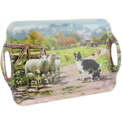 Large Collie And Sheep Art Deco Style Design Melamine Food Meal Serving Tray