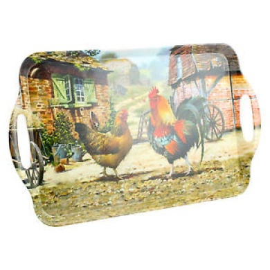 Large Cockerel And Hen Art Deco Style Design Melamine Food Meal Serving Tray