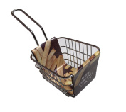New Home Kitchen Metal Chrome Mini Chip Fryer Style Wire Serving Basket