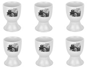 Van Well Black Flower White Porcelain Egg Cups With Black Decor - Set Of 6