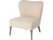 Monica Cream Linen Occasional Chair with Blue Patterned Back