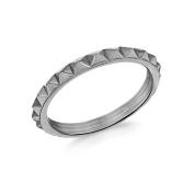 Tuscany Silver Black Rhodium Plated Pyramid Band Ring