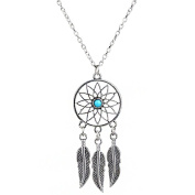 Hot Women Jewellery Retro Turquoise Feather Tassel Dream Catcher Pendant Necklace Family Friend Gift Silver
