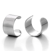2pcs Silver Colour Stainless Steel Ear Cuff Ear Clip Non-Piercing Clip On Earrings for Men and Women