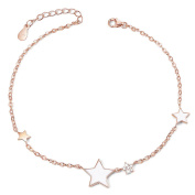 Sweetiee 925 Sterling Silver Anklet, with Micro Pave AAA Zirconia and Enamel Star, 210mm for Woman