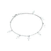 Onefeart Silver Plated Anklet Charm For Women Cross Shape Rolo Chain Beach Foot Jewellery 26CM Silver Charm