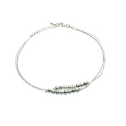 Onefeart Silver Plated Anklet Bracelet For Women Double Charm Sandal Beach Foot Anklet Chain Ladies 46CM