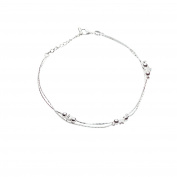 Onefeart Silver Plated Anklet For Women Bracelet Bell Star Shape Smooth Sandal Beach Foot Jewellery 46CM