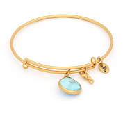 December Birthstone with Turquoise and Shooting Star Charms Expandable Bangle Bracelet, 14kt Gold Plated
