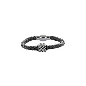 One Man Show – Cowhide Braided Black Leather Bracelet with Steel Cube