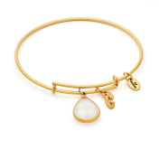 April Birthstone with Diamond and Mermaid Charms Expandable Bangle Bracelet, 14kt Gold Plated