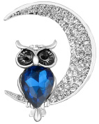 FENGJI Vintage Style Owl Shape Brooch Pin Rhinestone Covered Scarves Shawl Clip For Women Ladies 3 Colours