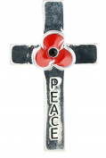 Remembrance Poppy - Charity Donation Gift - Enamelled Poppy & Peace Cross Brooch