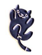 Lizzyoftheflowers - Super cute gold tone black enamel cat brooch / pin