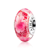 ATHENAIE Murano Glass 925 Sterling Silver Core Pink Peony Flower Shimmer Charms Bead
