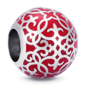 BEAUTY CHARM 925 Sterling Silver Red Enamel Bead DIY Charm Classical Beads of Chain or Bracelet
