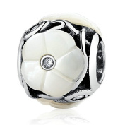 Luminous Florals Mother-Of-Pearl Clear CZ 925 Sterling Silver Bead Fits Pandora Charm Bracelet