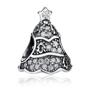 Twinkling Christmas Tree With Clear CZ 925 Sterling Silver Bead Fits Pandora Charm Bracelet