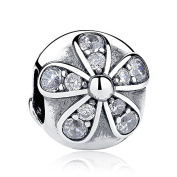 Dazzling Daisies With Clear CZ Clip 925 Sterling Silver Bead Fits Pandora Charm Bracelet