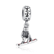 Snowboarder With Red Enamel Dangle 925 Sterling Silver Bead Fits Pandora Charm Bracelet