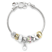Brass Silver Plated Heart, Flower, Clear Crystals Glass Beads Charms Bracelets