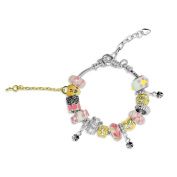 Brass Silver Plated Heart, Flower, Angel Crystal Pink Glass Beads Charms Bracelets