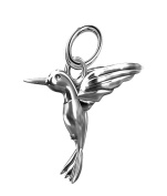 Solid Silver 925 hummingbird pendant charm fits on branded bracelet or necklace A6P
