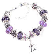 22th Birthday Purple and Lilac Themed Murano Charm Bracelet
