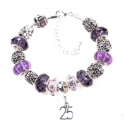 25th Birthday Purple and Lilac Themed Murano Charm Bracelet