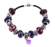 Purple and Silver Themed Charm Bracelet