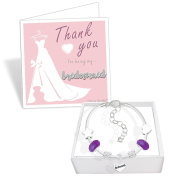 Bridesmaid White Leather Charm Bracelet and Thank You Card Gift Set Ladies Wedding Jewellery