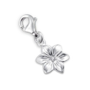 Flower Lobster Charm in 925 Stamped Sterling Silver with Cubic Zirconia