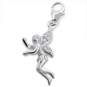 Fairy Lobster Charm in 925 Stamped Sterling Silver with Cubic Zirconia