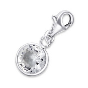 8Mm Round Lobster Charm in 925 Stamped Sterling Silver with Cubic Zirconia