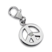 Peace Lobster Charm in 925 Stamped Sterling Silver with Cubic Zirconia