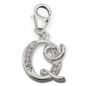 Initial Letter Q Lobster Charm in 925 Stamped Sterling Silver with Cubic Zirconia
