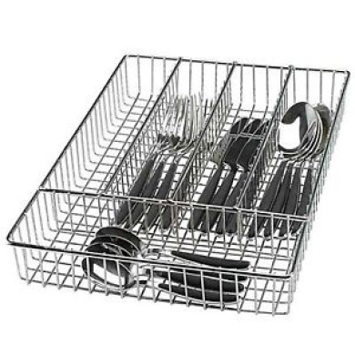 Chrome Cutlery Basket Kitchen Untensil Drainer Storage Holder Washing Drawer