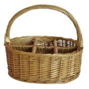 6 Section Oval Willow Wicker Cutlery Divided Basket Length 26 Cm X Width 20 Cm X