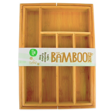 The Bamboo Crew Bamboo Cutlery Tray – Wooden Cutlery Tray – Kitchen Drawer – – –